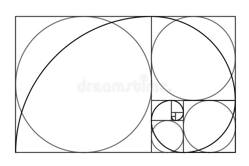 Minimalistic stildesign guld- förhållande geometriska former Cirklar i guld- proportion Futuristic design logo gears symbolen vektor illustrationer