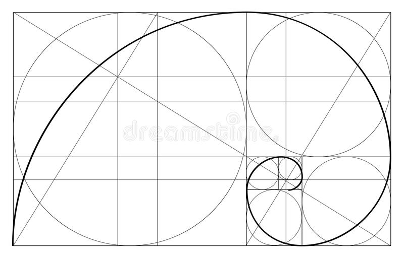 Minimalistic style design. Golden ratio. Geometric shapes. Circles in golden proportion. Futuristic design. Logo. Vector icon. Abs. Tract vector background stock illustration