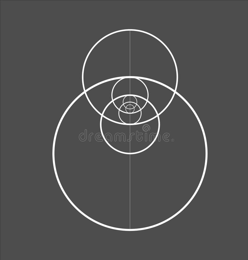 Minimalistic style design. Golden ratio. Geometric shapes. Circles in golden proportion. Futuristic design. Logo. Vector stock illustration
