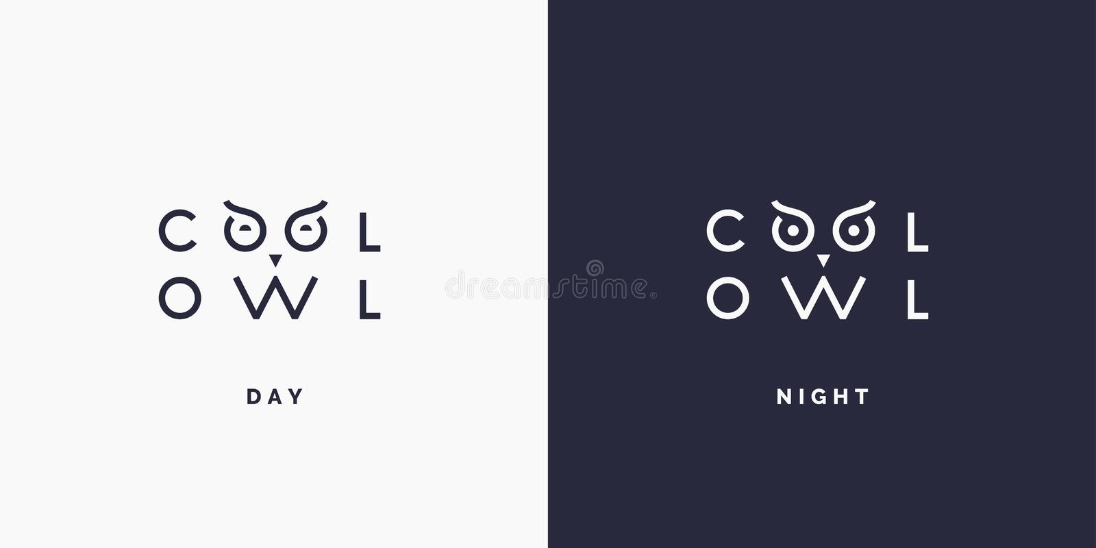 Minimalistic and stylish logo Owl, modern typography and identity for your company. stock illustration
