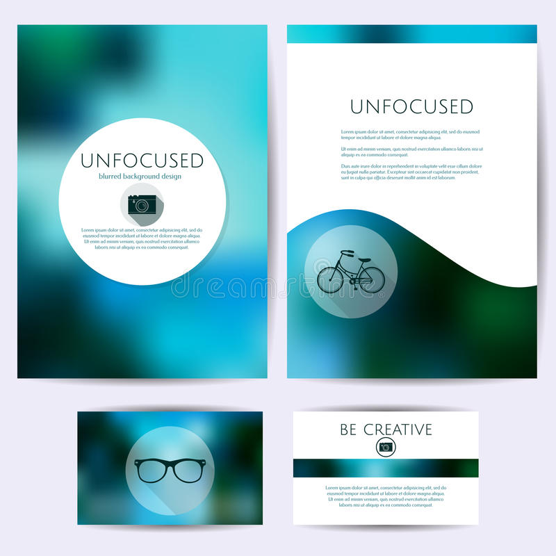 Minimalistic unfocused projekt, set szablony Tożsamość, oznakuje dla kart, falcówki royalty ilustracja