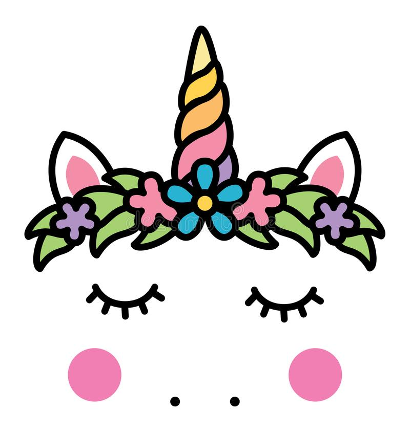 Minimalistic unicorn face with floral wreath vector illustration