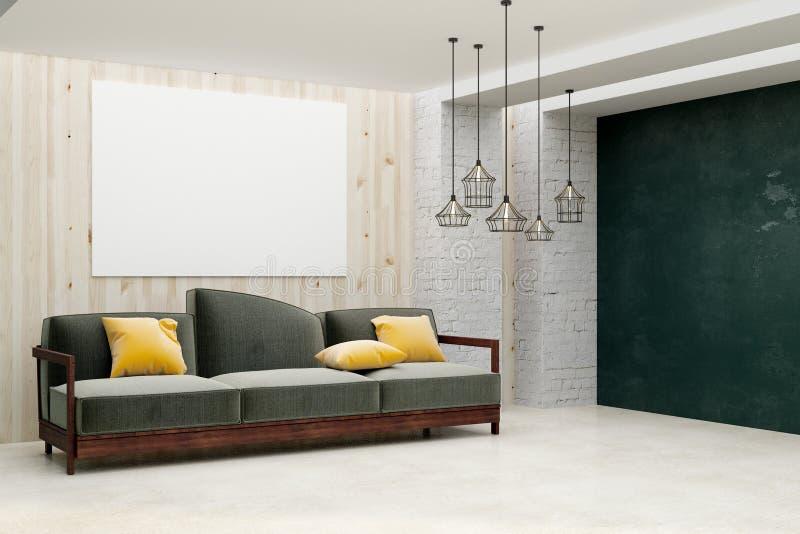 Minimalistic vardagsrum med det tomma banret royaltyfri illustrationer