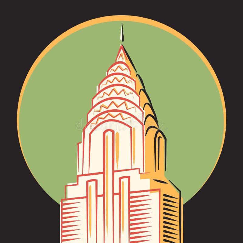 Minimalistic vector icon, The Chrysler Building, New York. The Chrysler Building in original style, New York stock illustration