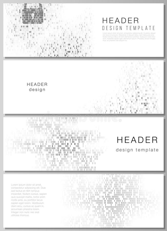 The minimalistic vector illustration of the editable layout of headers, banner design templates. Binary code background stock illustration