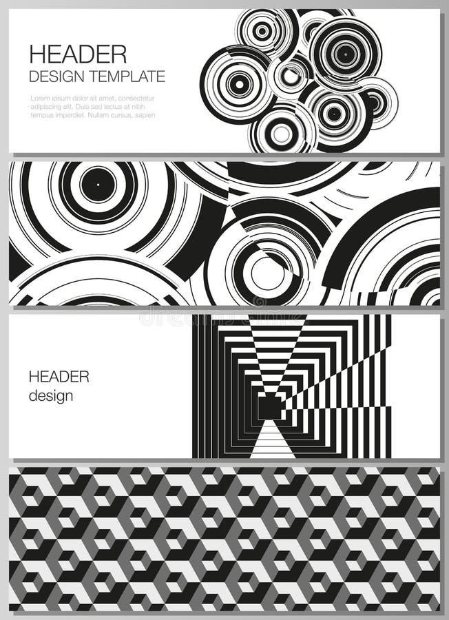 The minimalistic vector illustration of the editable layout of headers, banner design templates. Trendy geometric stock illustration