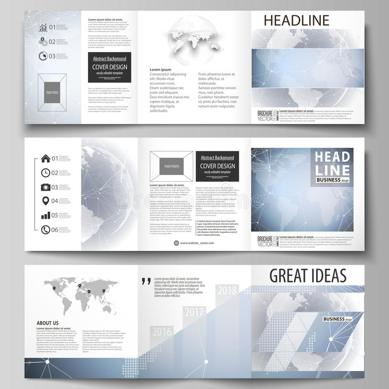 The minimalistic vector illustration of the editable layout. Three creative covers design templates for square brochure. Or flyer. Abstract futuristic network stock illustration