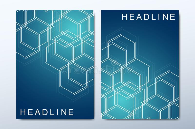 The minimalistic vector template for brochure, cover, flyer, annual report, leaflet. Minimal abstract composition with. Molecule structure. Future geometric vector illustration