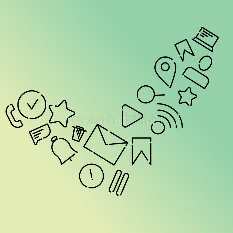 Minimalistic vektorillustration av symboler på ämnet av internet, applikationer, affär i form av en checkmark Mintkaramell stock illustrationer