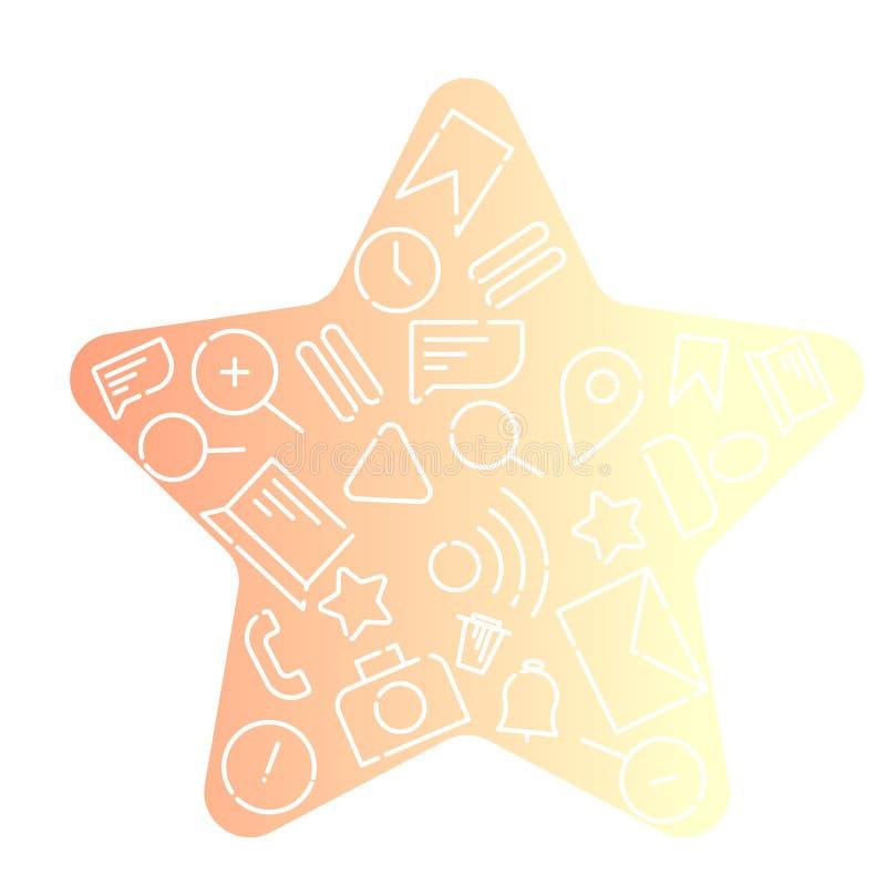 Minimalistic vektorillustration av symboler på ämnet av internet, applikationer, affär i form av en stjärna Orange lutning royaltyfri illustrationer