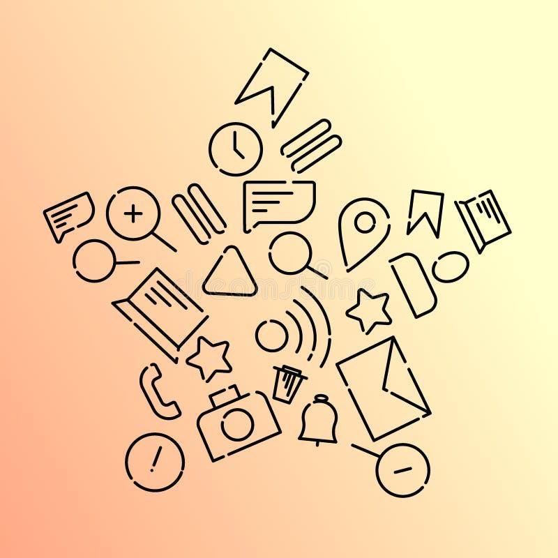 Minimalistic vektorillustration av symboler på ämnet av internet, applikationer, affär i form av en stjärna Orange lutning vektor illustrationer