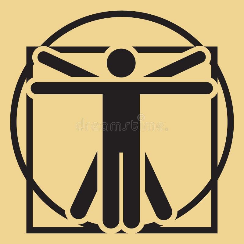 Minimalistic vitruvian man för vektor royaltyfri illustrationer