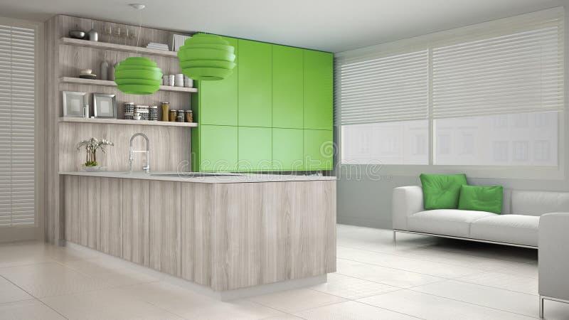 Minimalistic vitt kök med trä- och gröna detaljer royaltyfria foton