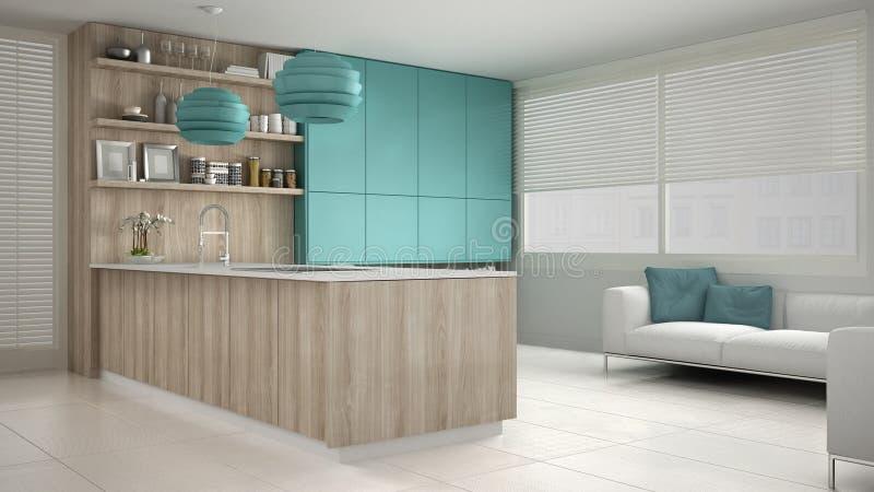 Minimalistic vitt kök med trä- och turkosdetaljer, mi arkivfoto