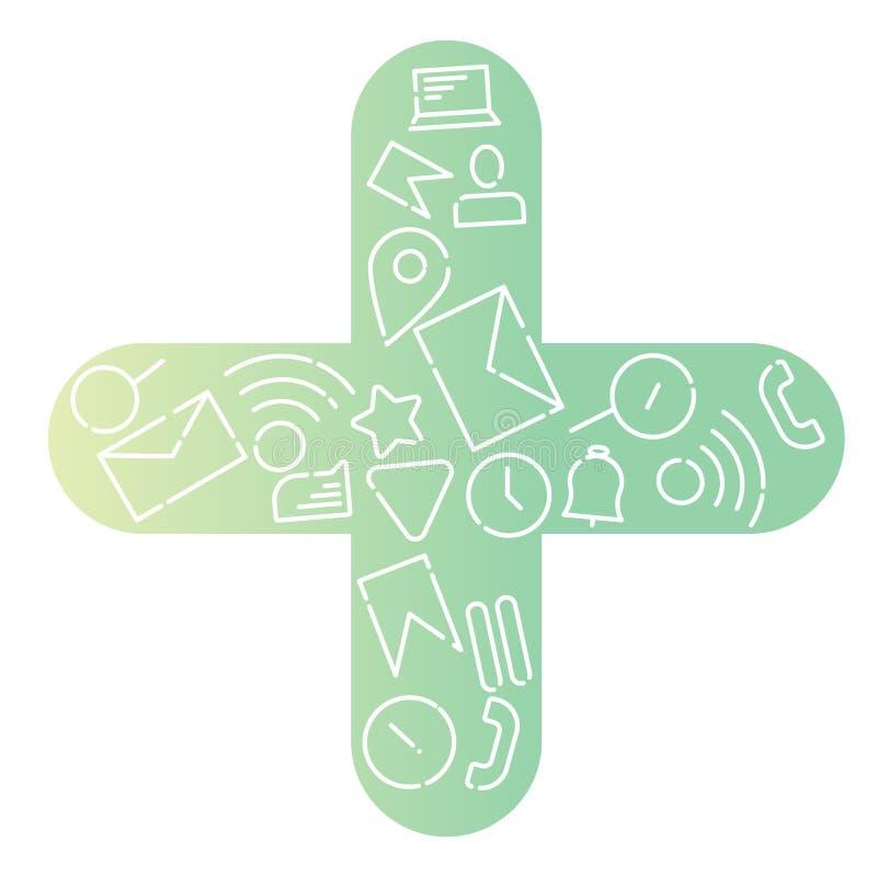 Minimalistic Wektorowa ilustracja ikony na temacie internet, zastosowania, biznes w postaci a plus Nowy gradient ilustracja wektor