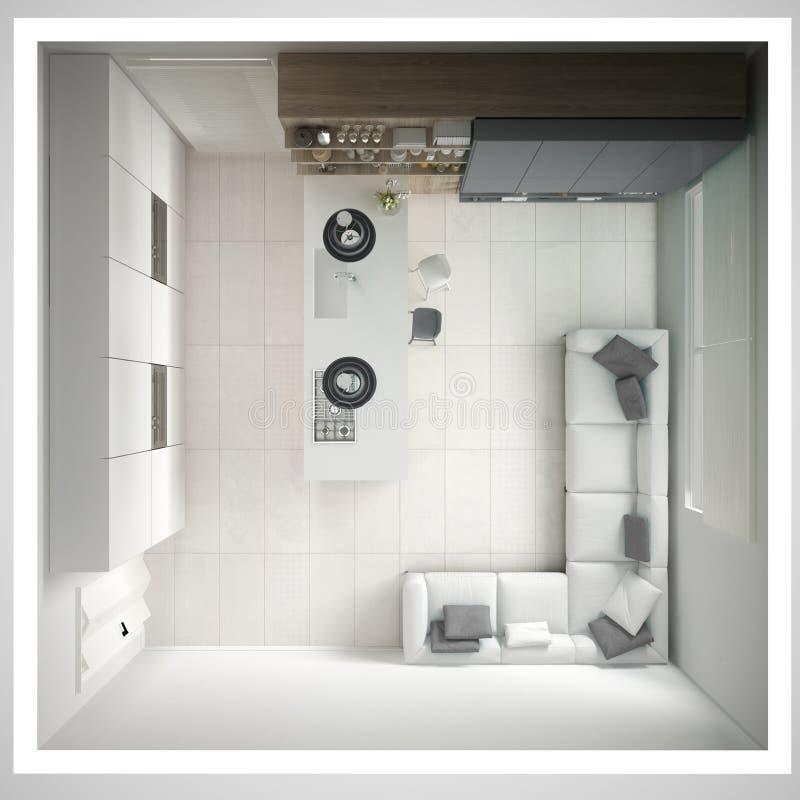 Minimalistic witte keuken, met houten en grijze details, minima vector illustratie