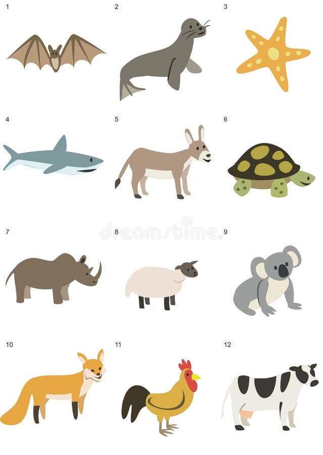 Minimalistic zwierząt grafiki paczka 1 zdjęcie stock