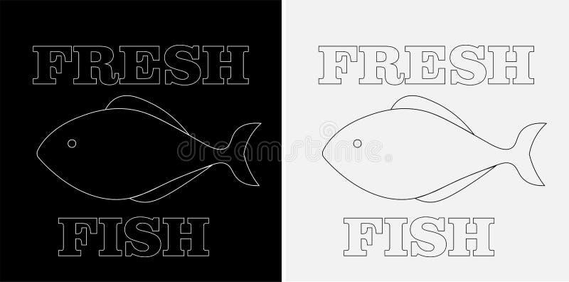 Minimalisticembleem van verse vissen op een zwart-witte achtergrond met de inschrijving royalty-vrije stock foto