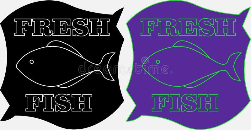 Minimalisticetiket van verse vissen op een zwart-witte achtergrond met de inschrijving stock foto's
