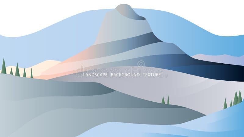 Minimalisticlandschap in grijze en blauwe tonen met sneeuw bos en hoge berg Vector illustratie royalty-vrije illustratie