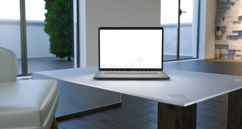 Minimalisticzaal met Grote Vensters en Laptop het Witte Scherm op Ta vector illustratie