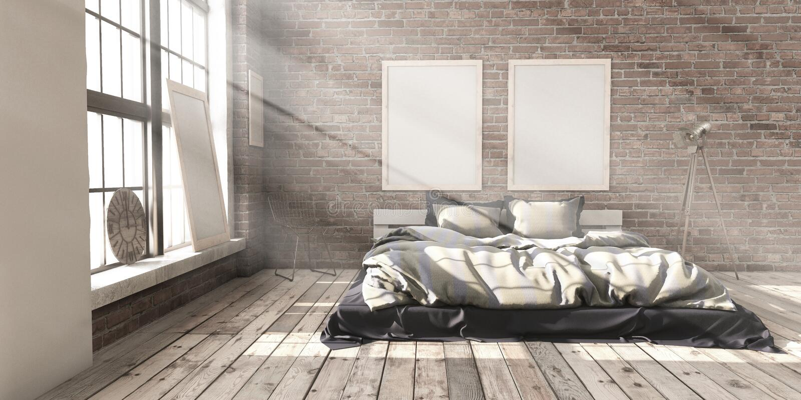 Minimalistik bedroom layout in loft style in the rays of sunlight. stock image