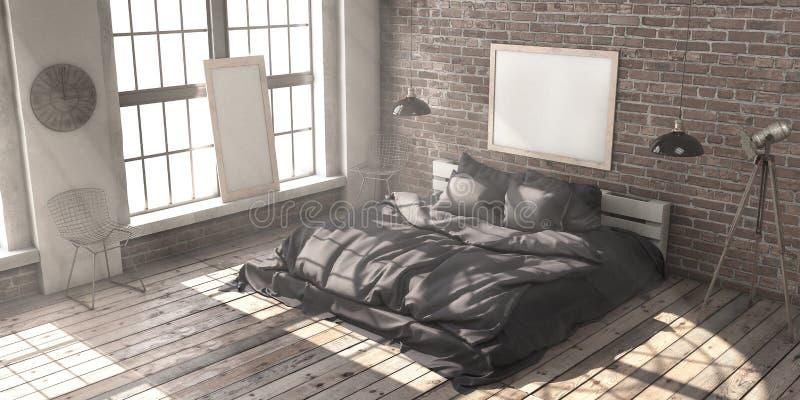 Minimalistik bedroom layout in loft style in the rays of sunlight. stock photo