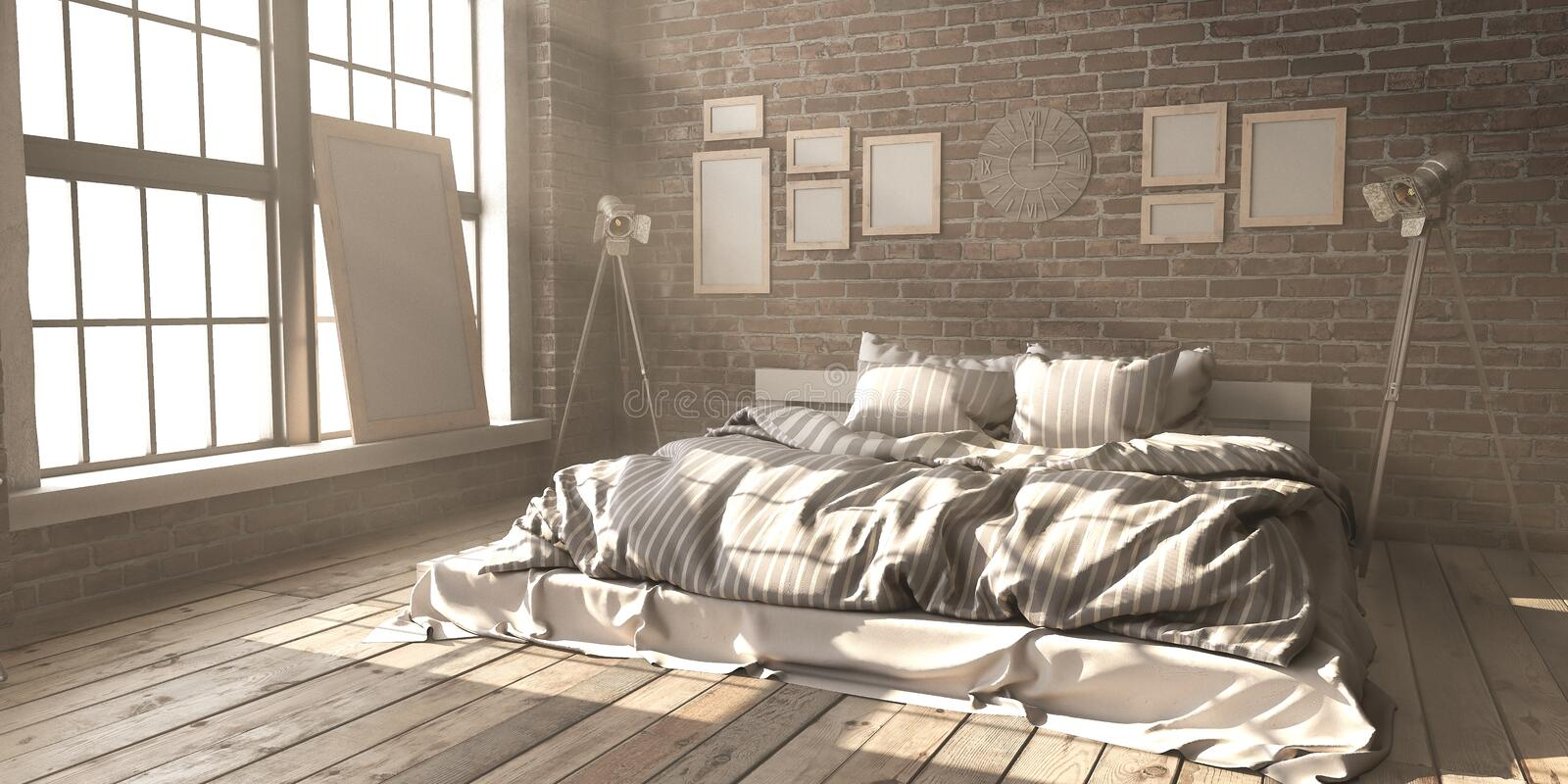 Minimalistik bedroom layout in loft style in the rays of sunligh stock photos