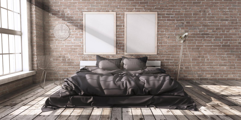 Minimalistik bedroom layout in loft style in the rays of sunlight. stock photos