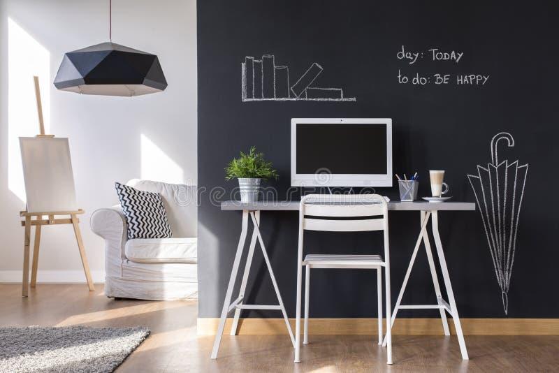 Minimalistisch het werkgebied thuis royalty-vrije stock foto