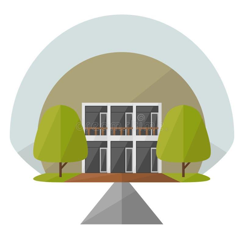 Minimalistisch Huis/Flatontwerp stock illustratie