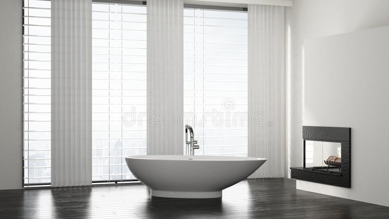 Minimalistisch ruim modern badkamersbinnenland royalty-vrije illustratie