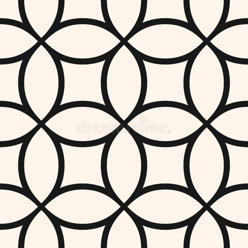 Minimalistisch vector naadloos patroon met cirkelnetwerk, netto net, rooster vector illustratie