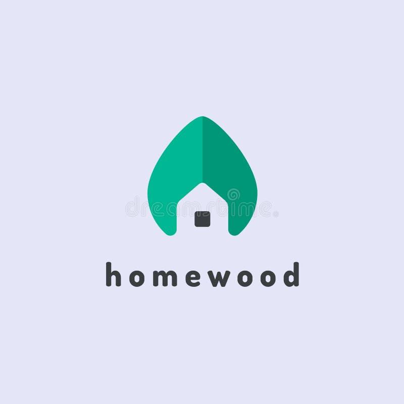 Minimalistisch vectorembleem van huis en boomblad Het huisconcept van Eco vector illustratie