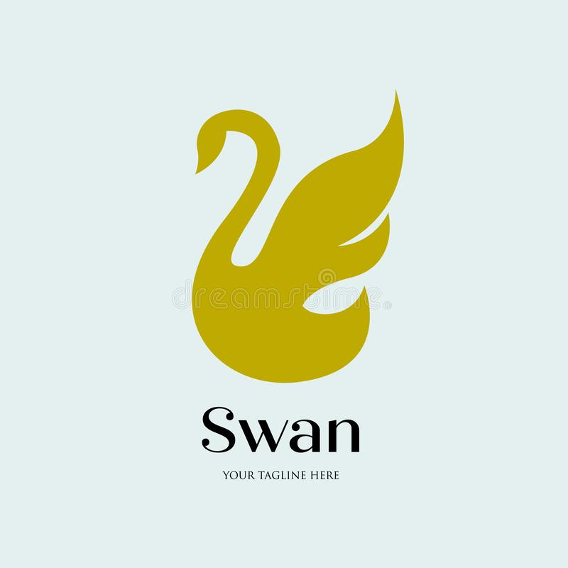 Minimalistisch vliegend zwaanembleem, eenvoudig en luxe vector illustratie