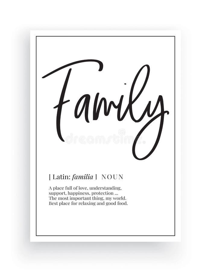 Minimalistisch Word Ontwerp, Familie die, Muurdecor, de Vector van Muuroverdrukplaatjes, de beschrijving van het Familiezelfstand stock illustratie