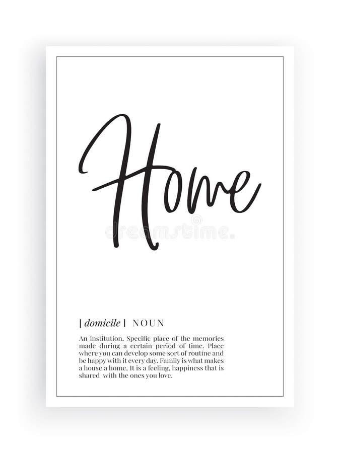 Minimalistisch Word Ontwerp, Huisdefinitie, Muurdecor, de Vector van Muuroverdrukplaatjes, de beschrijving van het Huiszelfstandi vector illustratie