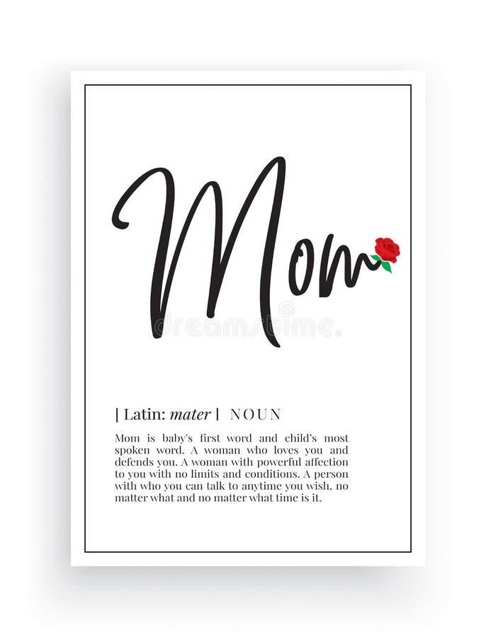 Minimalistisch Word Ontwerp, Mammadefinitie, Muurdecor, de Vector van Muuroverdrukplaatjes, de beschrijving van het Mammazelfstan stock illustratie