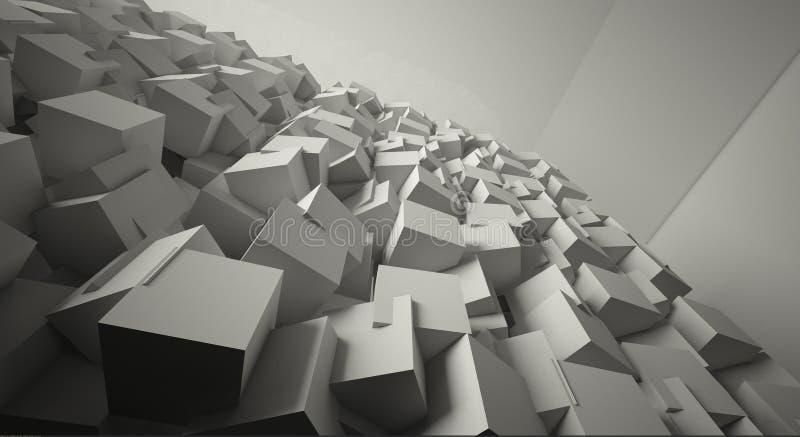 Minimalistische, abstracte achtergrond met kubussen, neonlicht royalty-vrije illustratie