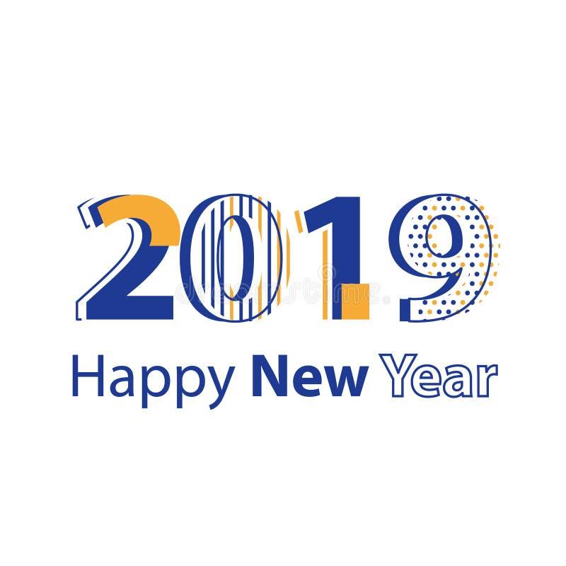 Minimalistische affiche, gelukkig nieuw jaar 2019, creatieve collage, vlakke ontwerpillustratie vector illustratie
