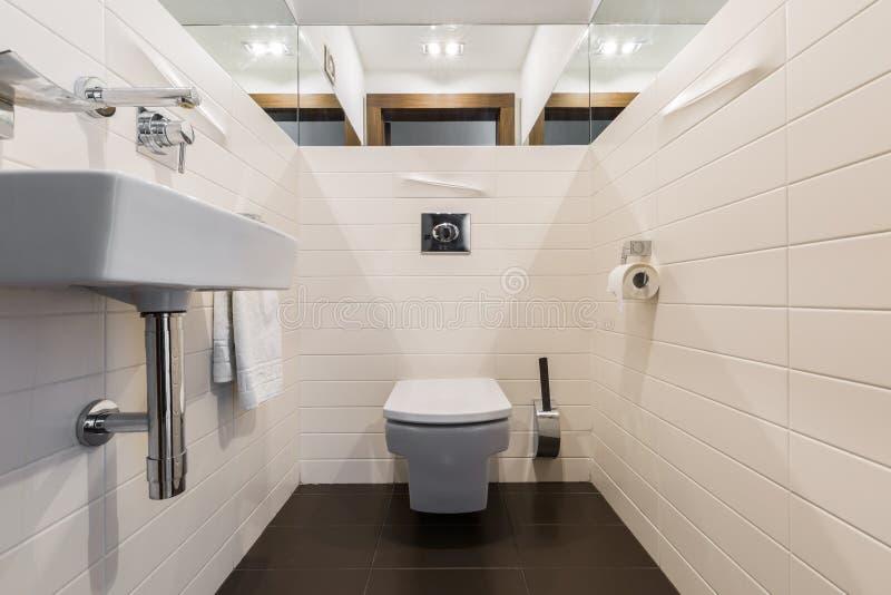 Minimalistische badkamers met toilet en gootsteen royalty-vrije stock afbeelding
