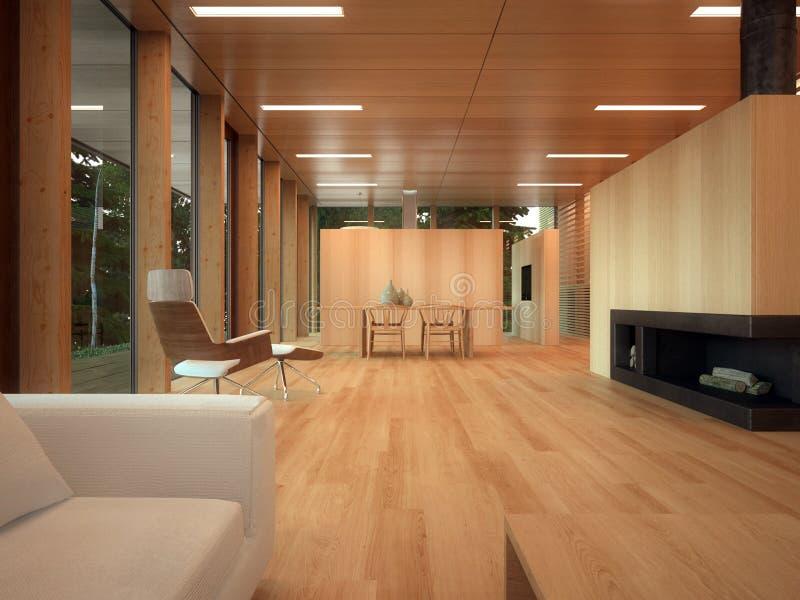 Minimalistische houten zitkamer royalty-vrije stock afbeeldingen