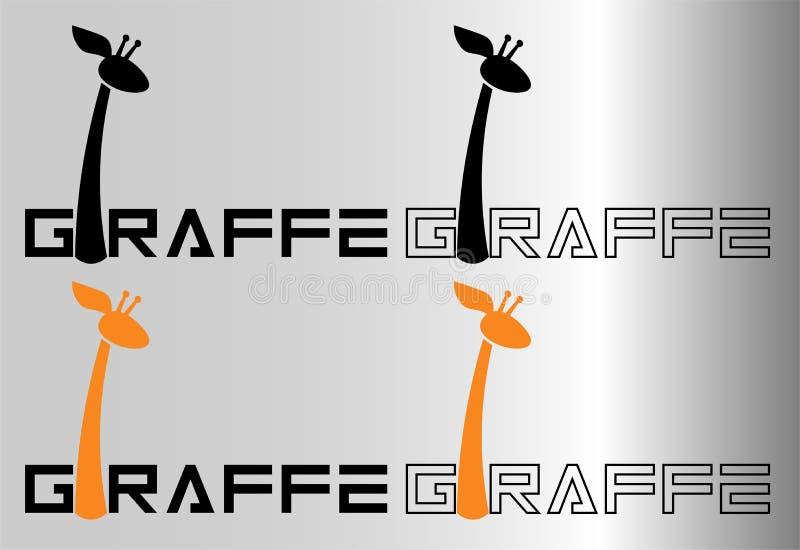 Minimalistische inschrijving met brief i een giraf voor emblemen of drukken stock illustratie