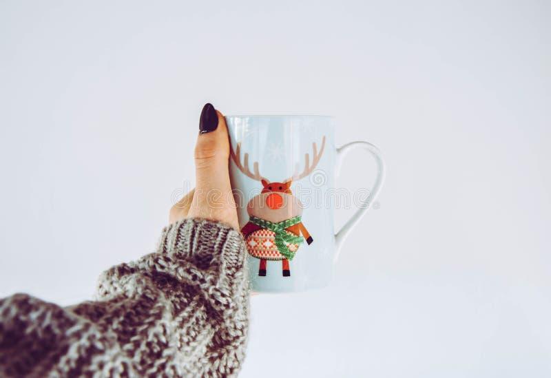 Minimalistische Kerstmisachtergrond met Rudolph stock fotografie