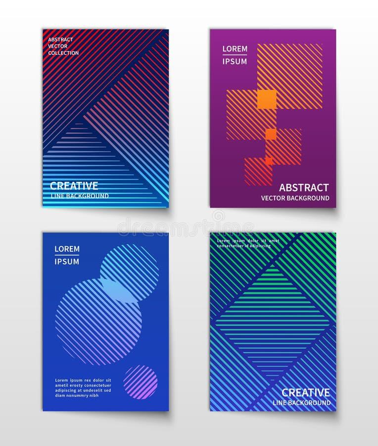 Minimalistische lijn dynamische halftone Abstracte geometrische vector moderne geplaatste achtergronden stock illustratie