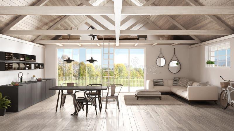 Minimalistische mezzanine zolder, keuken, het leven en slaapkamer, houten r vector illustratie