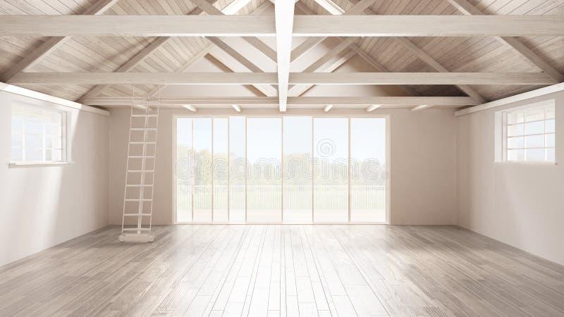 Minimalistische mezzanine zolder, lege industriële ruimte, houten roofin stock afbeeldingen