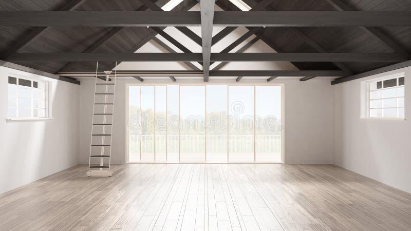 Minimalistische mezzanine zolder, lege industriële ruimte, houten roofin stock fotografie