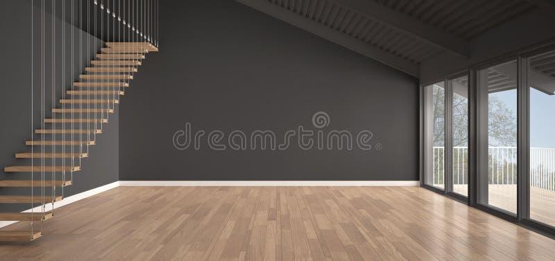 Minimalistische mezzanine zolder, lege industriële ruimte, metaaldakwerk stock illustratie