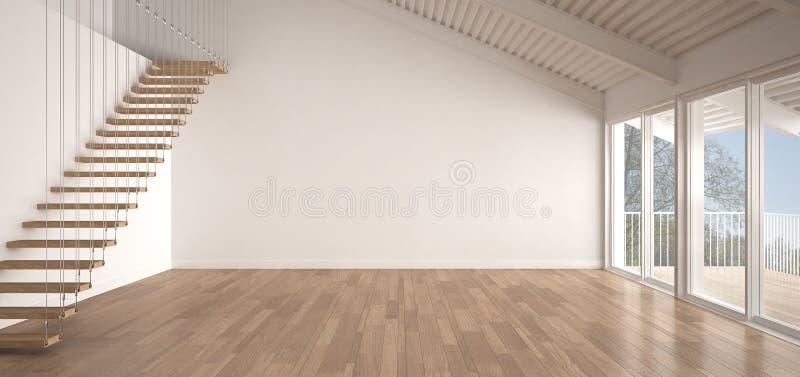 Minimalistische mezzanine zolder, lege industriële ruimte, metaaldakwerk royalty-vrije illustratie